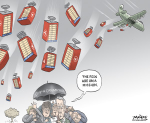 """Editorial cartoon by Graeme MacKay, The Hamilton Spectator - Saturday April 25, 2015 Canada Post strikes back in mailbox battle  Canada Post has asked the courts to strike down Hamilton's mailbox installation bylaw the day after eight charges were laid under the new rules. Canada Post spokesperson Jon Hamilton said the legal counter-move came after the agency received a city order to stop ongoing installation of the controversial community mailboxes based on the recently passed bylaw. He said he wasn't aware of any charges under the bylaw, but added a hearing to consider Canada Post's application is scheduled for April 28. City spokesperson Mike Kirkopoulos said Friday eight charges related to three unidentified mailbox locations were sworn late Thursday Ð six against Canada Post and two against a subcontractor, SNC Lavalin. He couldn't immediately comment on what the latest court filing means to the city. """"We regret that court action is necessary É but we're at a point where we need to continue to move forward,"""" said Hamilton, noting, the agency has been in contact with the city since last June over the planned installations.   The legal battle started when the city enacted a new bylaw earlier this month that requires the Crown corporation to apply for a $200 permit for each of an estimated 4,000 community mailboxes meant to replace door-to-door mail delivery in Hamilton. Council followed up on Wednesday by asking its lawyers to file a court application to """"restrain"""" ongoing installation by Canada Post. The agency's counter-move appears to have been filed first, however. Canada Post has argued from the get-go its federal mandate trumps municipal bylaws and installation of the first of 1,000 mailboxes on the Mountain began last Friday. (Source: Hamilton Spectator) http://www.thespec.com/news-story/5575336-canada-post-strikes-back-in-mailbox-battle/ Hamilton, Canada, Canada Post, mail, post, postal service, Superbox, court, legal, military, mission, bomb"""