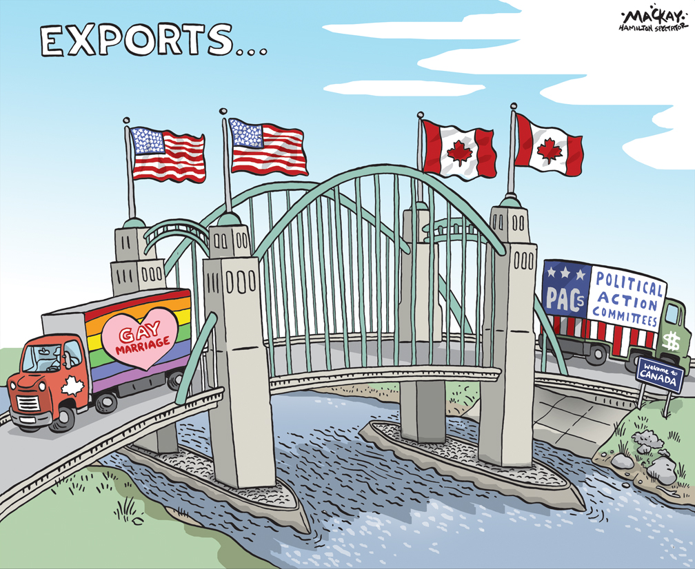 """Editorial cartoon by Graeme MacKay, The Hamilton Spectator - Saturday June 27, 2015 The U.S. Supreme Court has made same-sex marriage legal throughout America, ruling Friday that the constitution gives gay and lesbian couples the same rights as straight couples. The historic decision invalidates the same-sex marriage bans of 13 states, from Texas on the Mexican border to Michigan and North Dakota on the Canadian border. The vote was 5-4, reflecting the deep divide on the issue in American society. The courtÕs four liberals were joined by the conservative Anthony Kennedy, who wrote his third landmark opinion expanding gay rights. In powerful, unequivocal language, Kennedy declared same-sex relationships no less worthy of the sacred institution of marriage than relationships between men and women. (Source: Toronto Star) http://www.thestar.com/news/world/2015/06/26/us-supreme-court-legalizes-same-sex-marriage-nationwide.html Meanwhile, a growing number of third parties are exploiting a loophole in the law that puts no serious restrictions on how much is raised or spent before the campaign officially begins. Canada's electoral laws are intended to limit the influence of big money in campaigns by enforcing strict contribution limits, making the names of all donors public and banning donations from corporations and unions. The newest entrants are Engage Canada and HarperPAC, and they are not really third parties so much as offshoots of the three main political parties. Engage Canada was started by two former senior Liberal staffers in Ontario, Don Guy and Dave Gene, and Kathleen Monk, an equally prominent federal NDP strategist. Take my word for it, because you won't find any disclosure of who is behind the group from its website.  On the other side is HarperPAC. The name tells you all you need to know. The group is a """"political action committee"""" in the U.S. mould and dedicated to re-electing the Harper government. It's the brainchild of Stephen Taylor, the form"""