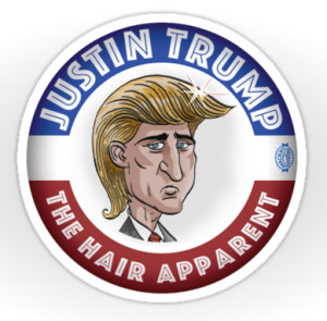 Justin Trump   Available at the MacKaycartoons Boutique Cartoon by Graeme MacKay.  A one-time print license has been extended to Redbubble.com. Unauthorized use is prohibited. All kinds of stickers, greeting cards, postcards, framed prints and t-shirts displaying the illustrations of Graeme MacKay are available for purchase through Redbubble via http://www.redbubble.com/people/mackaycartoons Justin Trudeau, Donald Trump, Election, Canada, Canadian, politics, hair A one-time print license has been extended to Redbubble.com. Unauthorized use is prohibited. All kinds of stickers, greeting cards, postcards, framed prints and t-shirts displaying the illustrations of Graeme MacKay are available for purchase through Redbubble via http://www.redbubble.com/people/mackaycartoons
