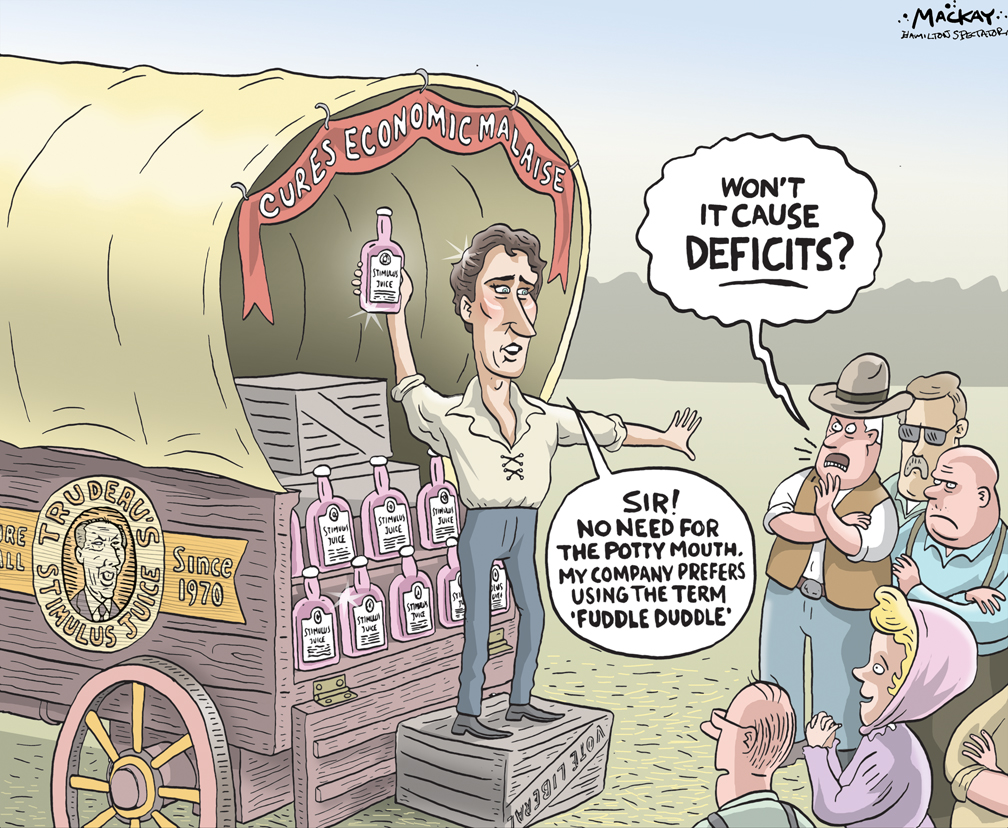 By Graeme MacKay, Editorial Cartoonist, The Hamilton Spectator - Saturday August 29, 2015 Justin Trudeau alters election equation with deficit-spending gamble  Justin Trudeau has just broken this election campaign wide open. His Liberals have chucked the balanced-budget pledge, at least in the short term, to promise economic growth instead. And now Mr. Trudeau gets to offer a different economic policy. It makes the Liberals the interventionist party, the only party willing to tell voters theyÕd spend substantially more in the short term in a bid to get a slow economy rolling. ItÕs in part an effort to outflank NDP Leader Thomas Mulcair, who wonÕt make those kinds of promises. Many Canadians want a more interventionist approach: A Nanos Research poll released Wednesday found 54 per cent say they support a new round of deficit spending to boost the economy. But it is a big gamble with a charged political symbol, the deficit. Mr. Trudeau is walking right into Conservative Leader Stephen HarperÕs accusation that heÕd increase the national debt. Still, the economy is the issue, and the Liberal Leader has altered the election equation. Until now, all parties had accepted they were constrained by more or less the same shackles: balanced budgets, and roughly the same tax rates, give or take a small shift of the burden toward one group or another. That meant big money wasnÕt available. Parties could shift a few billion dollars around, and then claim their child benefits or child care or tax breaks were the best plan. But one major option Ð using the federal treasury in a bid to boost economic growth Ð was more or less off the table. It takes billions and billions to have any real hope of nudging growth in an economy the size of CanadaÕs. Now, Mr. Trudeau has thrown off the restraints and said heÕll run deficits of up to $10-billion a year for three years in order to allow for a multibillion-dollar increase in spending on infrastructure, raising it from $5.1-billion t