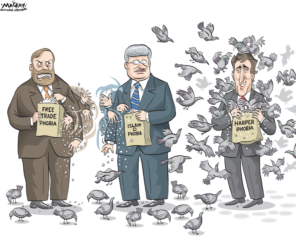 By Graeme MacKay, Editorial Cartoonist, The Hamilton Spectator - Thursday October 7, 2015 HarperÕs proposed niqab ban among civil servants draws condemnation He opened the door earlier in the week with a CBC television interview, saying niqabs could be nixed in the public service Ñ echoing similar comments last week in the French-language leadersÕ debate. But on Wednesday, the Conservative leader went further, lauding QuebecÕs Bill 64, which requires those who wear face coverings to remove them if they want to work in the public sector Ñ or do business with government officials. Although tabled in the National Assembly, the bill has yet to be debated. He called the Quebec Liberal governmentÕs approach measured and pledged that when it came time for federal legislation, he would follow their lead. ÒI believe the Quebec government has been handling this controversial issue in a responsible manner and we will do exactly the same thing in Ottawa,Ó Harper said during a campaign stop in Saskatoon. As if to hammer home the point, the Conservatives released online attack ads in French Wednesday, going after Justin TrudeauÕs position on the niqab. A proposed ban on niqabs in the federal civil service would affect an infinitesimally small number of bureaucrats Ñ if any at all. Statistics from 2011 show only 1.8 per cent of 257,000 federal employees are Muslim women and only a small subset of them is likely to wear face coverings. The Conservatives have already tried to require Muslim women to show their faces at citizenship ceremonies, but those rules are being challenged in the courts. HarperÕs comments on Wednesday make clear he is eyeing additional legislation to require women to unveil every time they want services from the federal government. Harper insisted his government has been Òsaying the same thing for several monthsÓ on the issue. While the prime minister may have been consistent in his comments that niqabs are contrary to Canadian values, that doesnÕt m