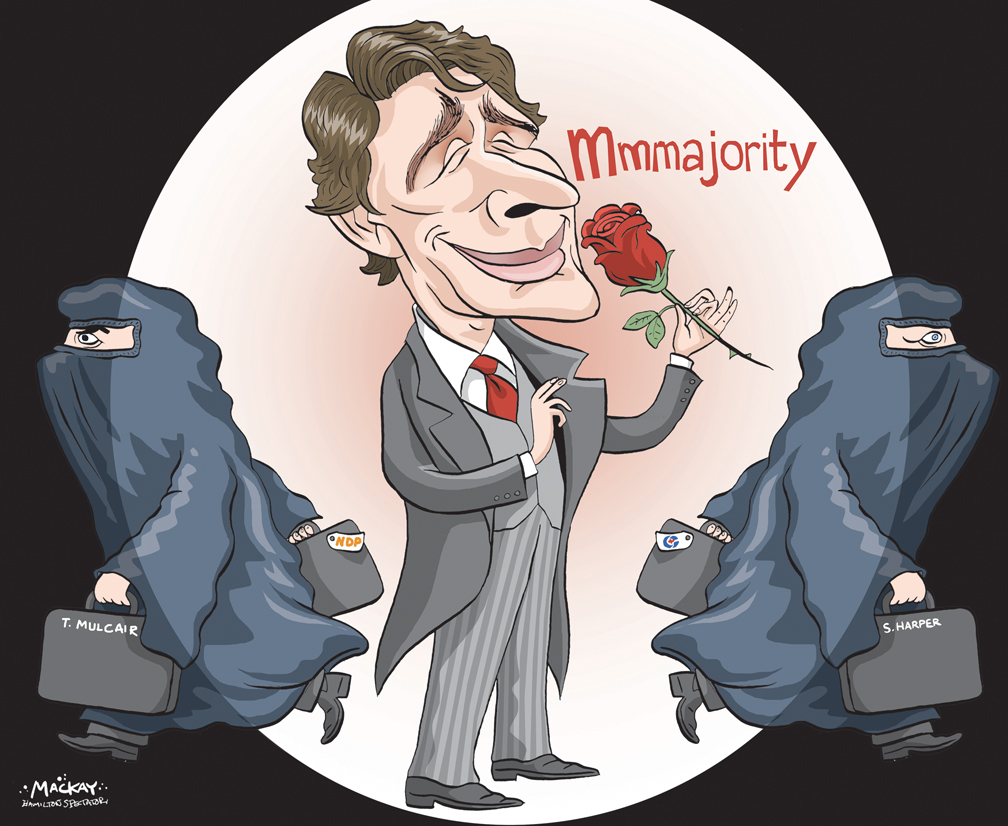 By Graeme MacKay, Editorial Cartoonist, The Hamilton Spectator - Tuesday October 20, 2015 Justin Trudeau leads a majority government following the 2015 Federal Election editorial cartoon, #elxn42, Thomas Mulcair, Justin Trudeau, Stephen Harper, niqab, majority, rose, Pierre Trudeau