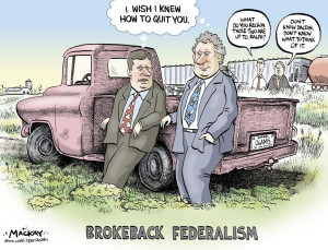 """Editorial Cartoon by Graeme MacKay, The Hamilton Spectator – Friday March 10, 2006 Dawn of a new era? Quebec and Ottawa are close to an agreement that will allow the province to have a voice at UNESCO, Prime Minister Stephen Harper said yesterday in emphasizing his government's """"open federalism"""" policy toward Quebec. For the first time in 22 years, a Canadian prime minister met with a Quebec premier at the National Assembly in what Premier Jean Charest dubbed the beginning of a new era of federal-provincial co-operation. It was the third face-to-face meeting between the two leaders since Mr. Harper's government was sworn in. An agreement on the United Nations Educational, Scientific and Cultural Organization carries great symbolic meaning for the Quebec government in its bid to prove that Mr. Harper's proposals for renewing federalism can work in the province's favour. """"Mr. Charest and I have agreed to task our respective ministers to move forward on ensuring that Quebec's voice be heard at UNESCO,"""" Mr. Harper said at the conclusion of a two-hour meeting. """"There are a couple of proposals on the table. And as I say, we are flexible and very optimistic we are going to reach a solution sooner rather than later."""" (Source: Globe & Mail) http://www.theglobeandmail.com/news/national/dawn-of-a-new-era/article18158001/ Canada, Quebec, Stephen Harper, Jean Charest, Brokeback Mountain, federalism, Dalton McGuinty, Ralph Klein"""